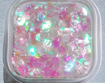 Mermaid Tail / Clear Glitter Holographic Slime