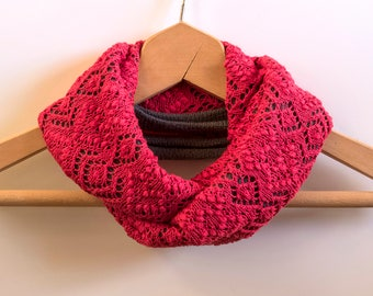 Knit Woman Endless Infinity Scarf, Haapsalu Lace Shawl, Valentines Day gift, Handknitted Pink Red Lace Scarf, Silk and Merino Wool,