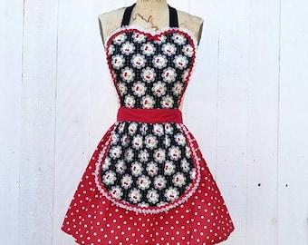 APRON, kitchen apron, red, cherries kitchen apron, gifts for her, full apron, retro apron, polka dot apron, hostess gift, housewarming gift