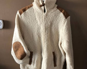 Extra Large Vintage Virgin Wool Sweater with Arm Patches Full Zip