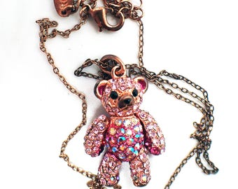 Pink 'Roam' Articulated Teddy Bear Necklace set with Diamantes