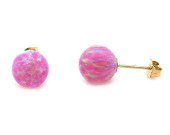 Pink Simulated Opal Ball Stud Earrings - 14k Yellow Gold, White Gold, Sterling Silver - for women, for girls