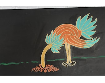 Emu with head in Sand 12 x 24