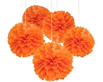 "A Set of 15 Pcs of 14"", 12"" and 10"" Tissue Paper Pom Poms Flower Balls For Birthday Wedding Baby Shower Party Decorations (ORANGE)"