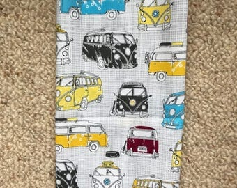 LARGE Reusable Cotton Beeswax Food Wrap VW Volkswagen Camper Van Bus Grey Yellow Red Blue 30cm x 30cm Zero Waste