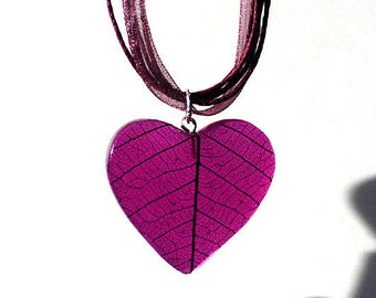 Pink Heart Resin Necklace, Leaf skeleton with 925 Silver findings Necklace