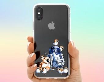 Porg Starwars Galaxy S8 case Porg Life case iPhone X Cute Porgs iPhone 7 Plus case BB8 Samsung Note 8 case R2D2 Google Pixel 2 case iPhone 6