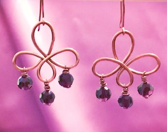 Antique copper chandelier earrings with purple faceted beads