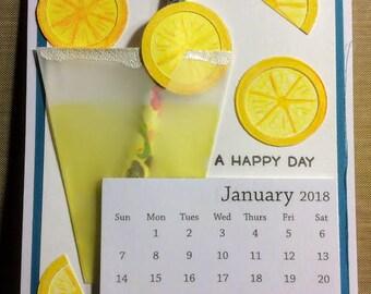 Lemonade Happy Day With 2018 Calendar Greeting Card