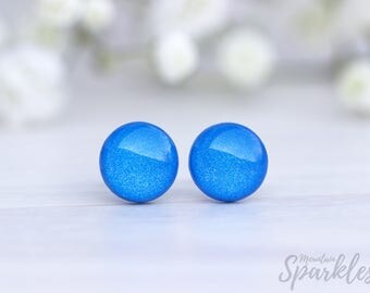 Blue stud earrings, Gift for woman, Titanium earrings, Shiny blue studs, Minimal jewelry, Summer studs, geometric round studs, Birthday gift