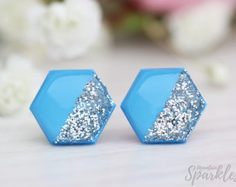 Sky blue stud earrings, Blue and silver earrings, Sky blue earrings, Sparkly earrings, Blue earrings gift for her, Silver and blue Studs