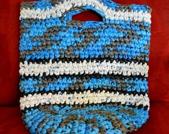 Eco-friendly Tote Bag - Gray and Sky Blue Base Colors - Black and White Accents
