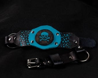 Light blue hand painted leather skull collar