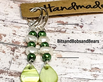 Handmade silver earrings drop earrings Boho style earrings freshwater pearls mother of pearl green gift for her St Patricks Day gift unique