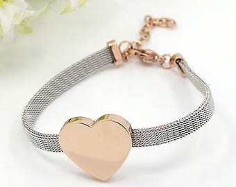 Stainless steel Bracelet * Heart Rose-Gold color