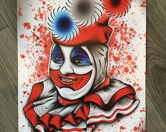 john wayne gacy - pogo the clown tattoo print