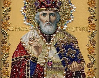High Quality DIY Diamond Cross Stitch Religious St Nicholas Icon Diamond Embroidery 5D Mosaic Decoration