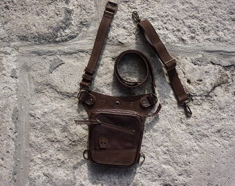 Belt Bag, Skull Leather Free Bag, Brown Leather Bike Bag, Mens Fanny Pack, Hip Holster, Money Belt, Festival Utility Belt, Zip Pocket Belt