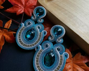 Blue Sapphire Soutache Earrings Statement Elegant Earrings Light Blue and White Boho Chic Ethnic Earring