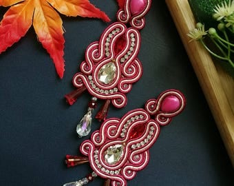 Elegant Red Crystal Soutache Earrings Statement Earrings Ethnic Boho Chic Pink and White Wedding Earrings