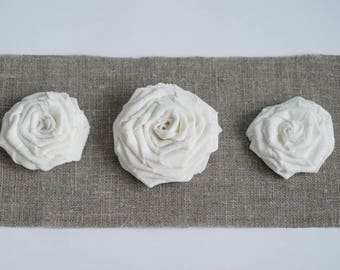 White flowers, white burlap flowers, flowers for wedding table, flowers for boxes, wedding flowers, white linen weddings