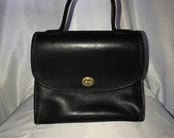 Vintage Black leather coach handbag