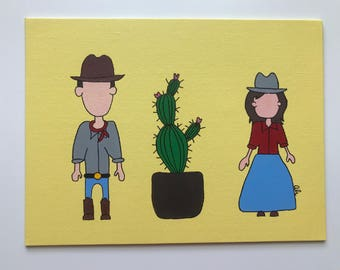 Cowboy, Cowgirl and Cactus Painting, 9x12