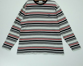 ELLE  Homme Paris Multicolor Long Sleeve Vintage Tshirt Large