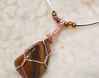 Tigers Eye Gemstone Pendant with Glass Bead Chain.