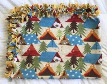 Forest Animal Fleece Tie Blanket | Camping Fleece Tie Blanket | Double Sided Baby Blanket | Bear Fleece Blanket | Toddler Blanket