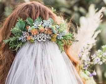 Faux Flower and Succulent Hair Barrette