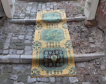 Turkish  Rug Free Shipping Anatolian Rug 2.2 x 5.7 ft. Pale Color Turkey Rug Runner Rug Ethnic Rug Home Decor Area Rug Small Rug MB160