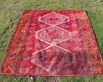 Red color turkish rug, 4.9 x 5.2 ft. Free Shipping vegetable dyed natural rug, oushak rug, nomadic rug, rustic rug, area rug, MB567