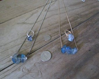 Freequency's Blue Lightening Crystal Necklace and Ring - Mix & Match Gold Wire or Silver Wire Finishes - 24.00 Bucks