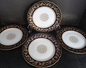 Antique Limoges Plates Cobalt w/ Gold Gilt and Raised Enamel Flowers Set of 4