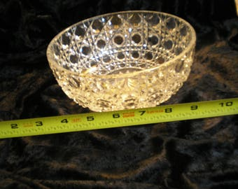 Vintage Quilted Clear Glass Crystal Bowl