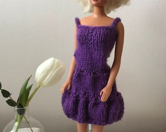Barbie clothes - Handknitted purple dress