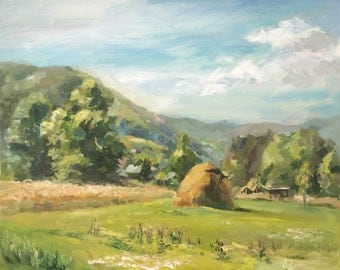 Painting with oil paint on canvas. Summer landscape.