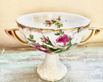 Royal Sealy China Vintage two handled tea cup with roses and gold trim and scalloped edge