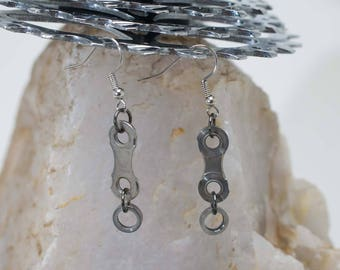 Single Link Bike Chain Earrings (roller under)