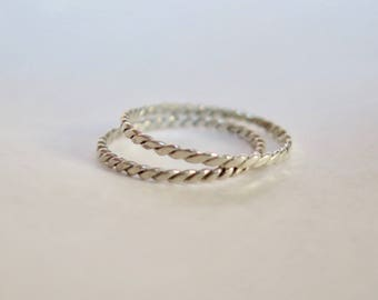 Braided Stackable Sterling Silver Ring