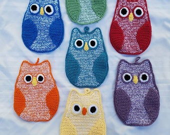Handmade Crochet Owl Hot Pad, Oven Mitt, Decoration