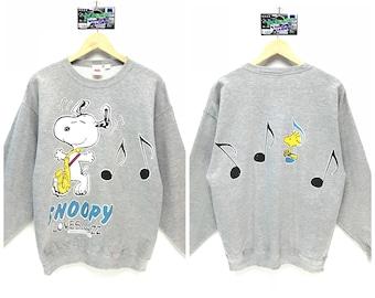 Rare!!! Vintage Peanuts Sweatshirt Peanuts Snoopy Big Logo Big Spell Out Snoopy Cartoon Sweatshirt Pullover Jumper Sweater Crew Neck Size L