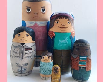 Hand Painted Stranger Things Russian Stacking Dolls