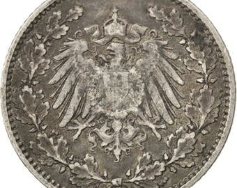 germany - empire 1/2 mark 1914 hambourg km #17 ef(40-45) silver 20 2.75