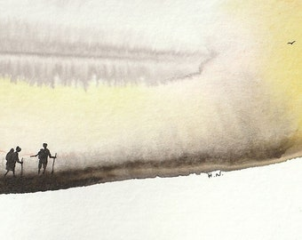 Single feather painting - Illustration Watercolour ink small print on paper - Meditation, Love, Life, Horizon