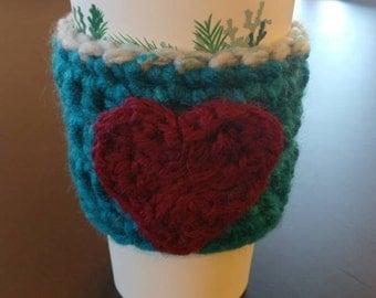 Crochet heart cozy - cup cozies - crochet - handmade - coffee cozy - cup sleeve - Mason jar cozy