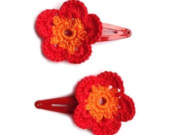 Hairclip Fireflower hand crochet: Flowers for your Hair