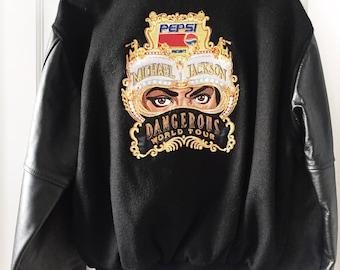 Michael Jackson Dangerous Tour Jacket Leather/Wool SZ M Vintage Rare Memorabilia