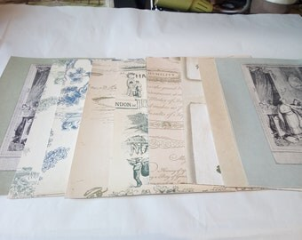 Bundle of 10 vintage style craft Sheets. Blue, green and cream selection.  Perfect for paper craft, scrap booking and card making